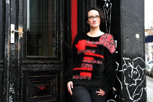 donna maglia '90 Grigio maglia Nero a Rosso lavorato a 90's anni Maglione Truevintage donna lavorato Maglione da 0E7xaqInqw