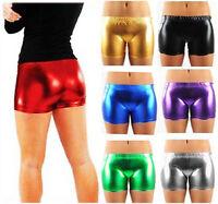 Women Metallic Club Party Plain Girls Wet Look Hot Pants Shinny Ladies  Shorts