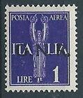 1944 RSI GNR BRESCIA POSTA AEREA 1 LIRA VARIETà PUNTO GROSSO LETTERA R MNH ** S1