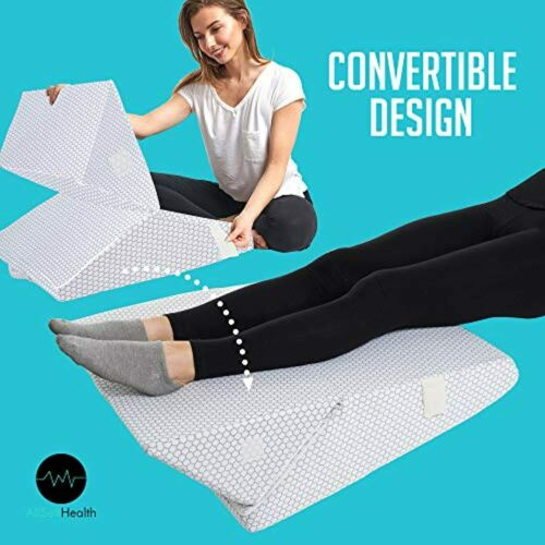 """Cooling Bed Wedge Pillow Adjustable 9/"""" to 12/"""" Incline Legs Back Support Cushion"""