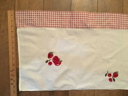 Vintage Cotton Valance Embroidered Fruit Apple Strawberry Cherry Red Check CUTE!