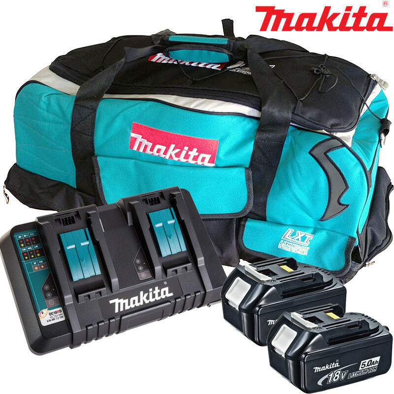 Makita 2 x BL1850 Battery + DC18RD Charger + LXT600 Bag For DGA454Z, DGA452Z