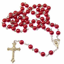 Christian Red metal long rosary beads Our Lady center prayer necklace gift