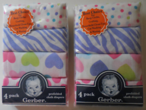 Gerber Prefolded Cloth Diapers 4 Pack Multicolor 100/% Cotton Set of 2