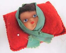 VINTAGE 1930s RED FELT SEWING NEEDLEWORK PIN CUSHION - CELLULOID DOLL FACE