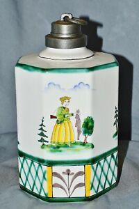 Screw-Bottle-With-Zinnmontierung-034-Hunting-034-Gmundener-Keramik-Osterreich