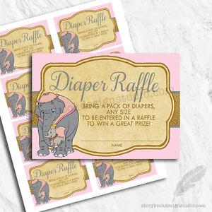 dumbo baby shower diaper raffle tickets printed set of 10 ebay