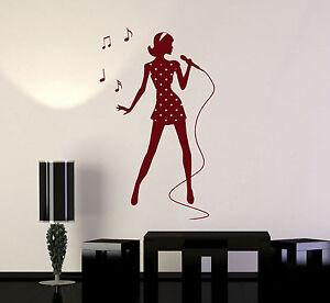 #2652di Singer Vinyl Wall Decal Silhouette Woman Girl Singing Karaoke Stickers Mural