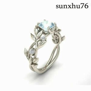 Women Men Elegant Leaves Ring 2.1Ct Aquamarine Wedding Jewelry