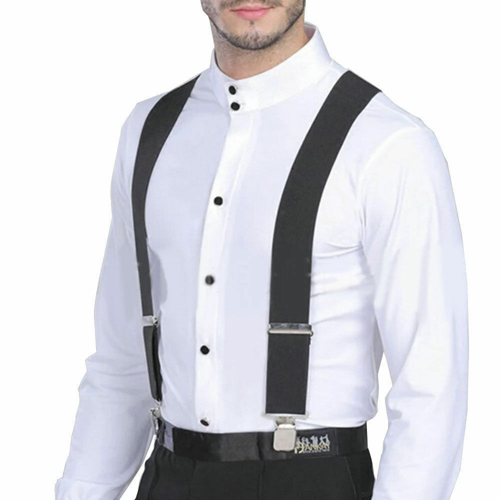 New Adjustable Boys Men 3.5cm Width solid Suspenders Clip-on Strong Braces UK