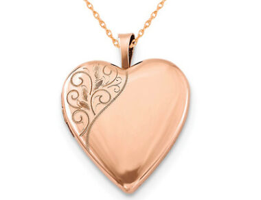 Swirl Heart Locket Pendant Necklace with Rose Gold Plating