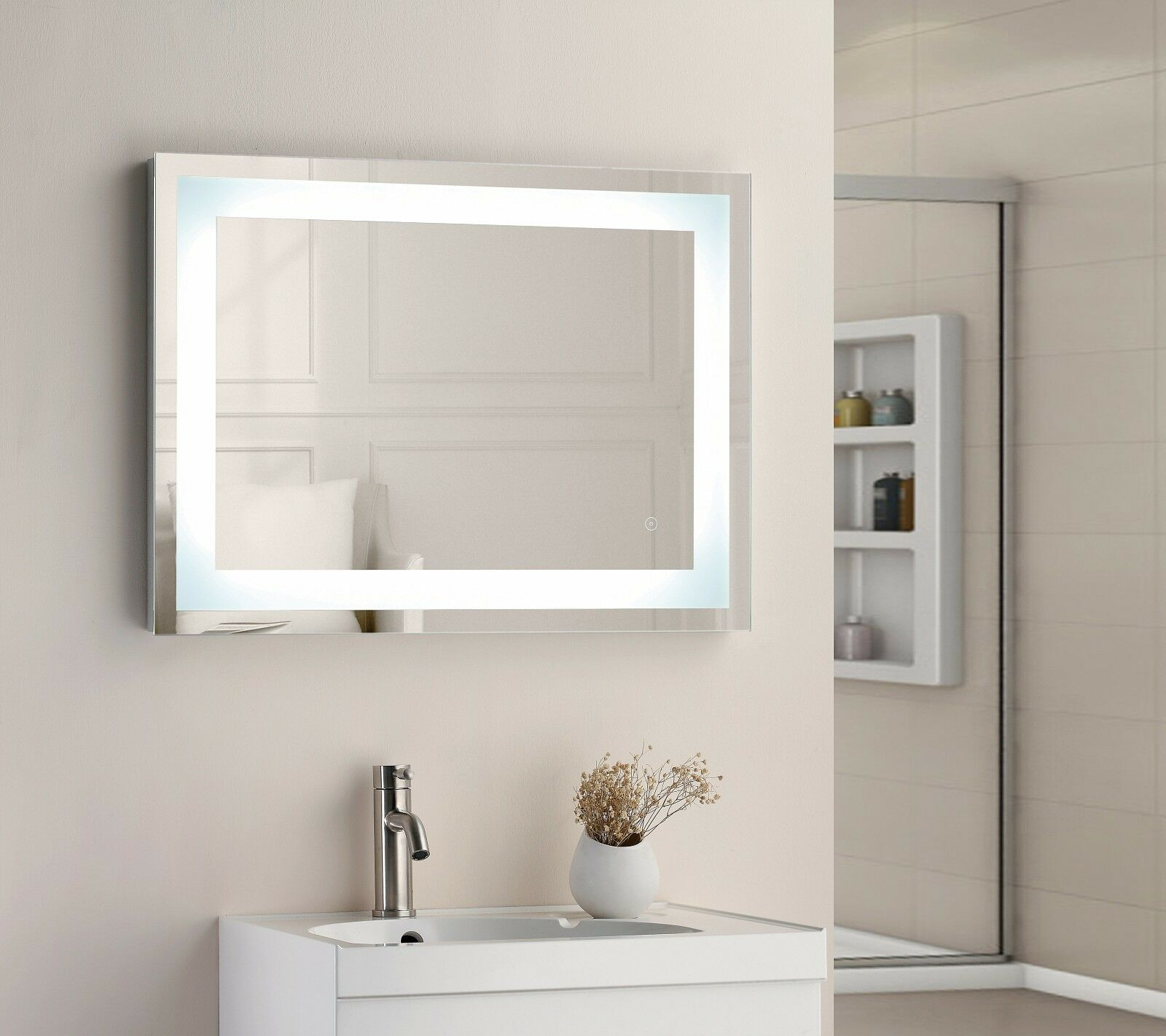 800 X 600 mm Cuadrada Iluminado Led Touch Espejo de baño Desempañador IP44