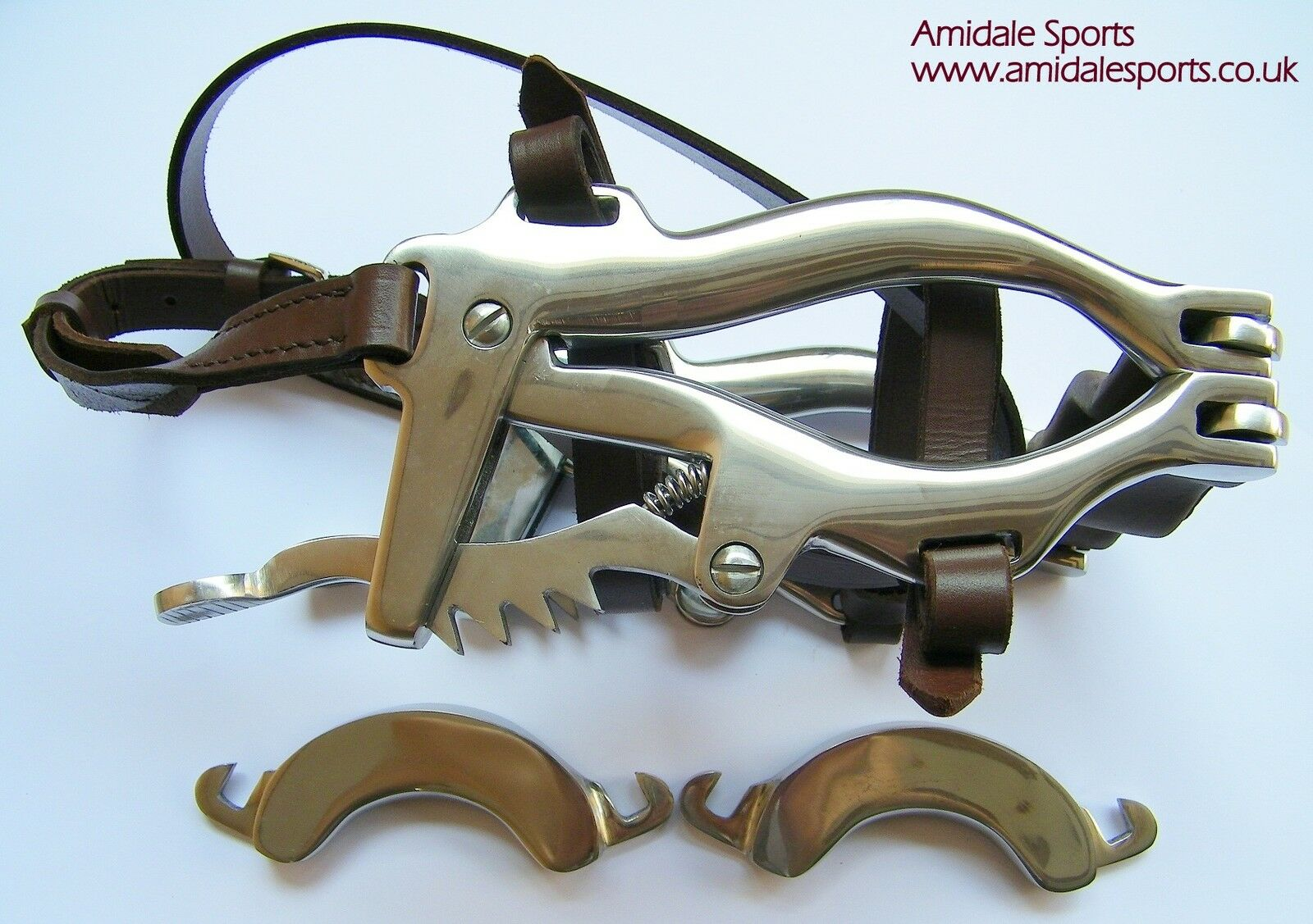 Equino Dental Espéculo Caballo Boca Gag- Acero Inoxidable y Piel 2 Repuesto