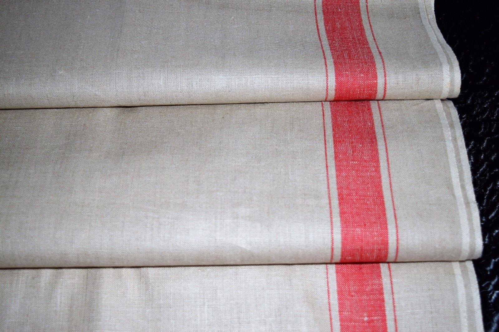 2-17 Leinen neuwertig** ** Altes Mangeltuch//Rolltuch längs rote Streifen