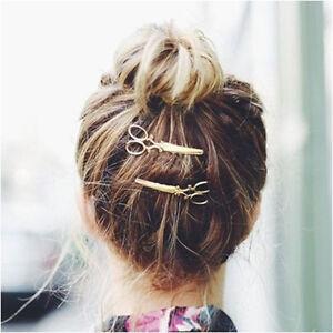 New-2Pcs-Retro-Gold-Silver-Scissors-Shape-Hair-Clip-Hairpin-Women-Hair-Accessory