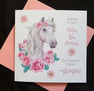 Incredible Personalised Handmade Birthday Card Horse Lovers 16Th 18Th 21St Personalised Birthday Cards Paralily Jamesorg