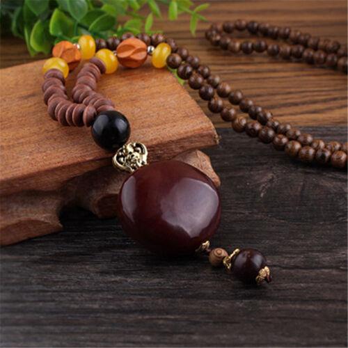 1pc Böhmischen Anhänger Vintage ethnischen Holz handgefertigt Perlen Halskette