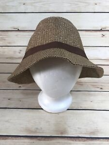 Fashion-Brown-Shimmer-BUCKET-HAT-WOMENS-PAPER-Casual-Comfort-One-Size