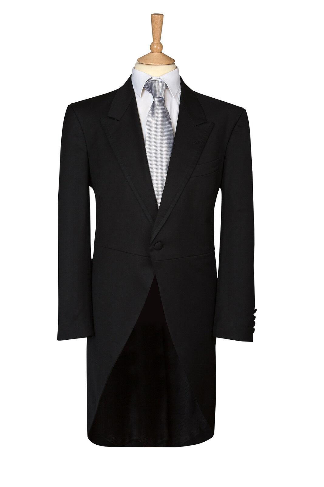 Da DI Uomo NERA SPINA DI Da PESCE pre di proprietà Ascot Frac Abito da Sposa Giorno Suit Tails 617072