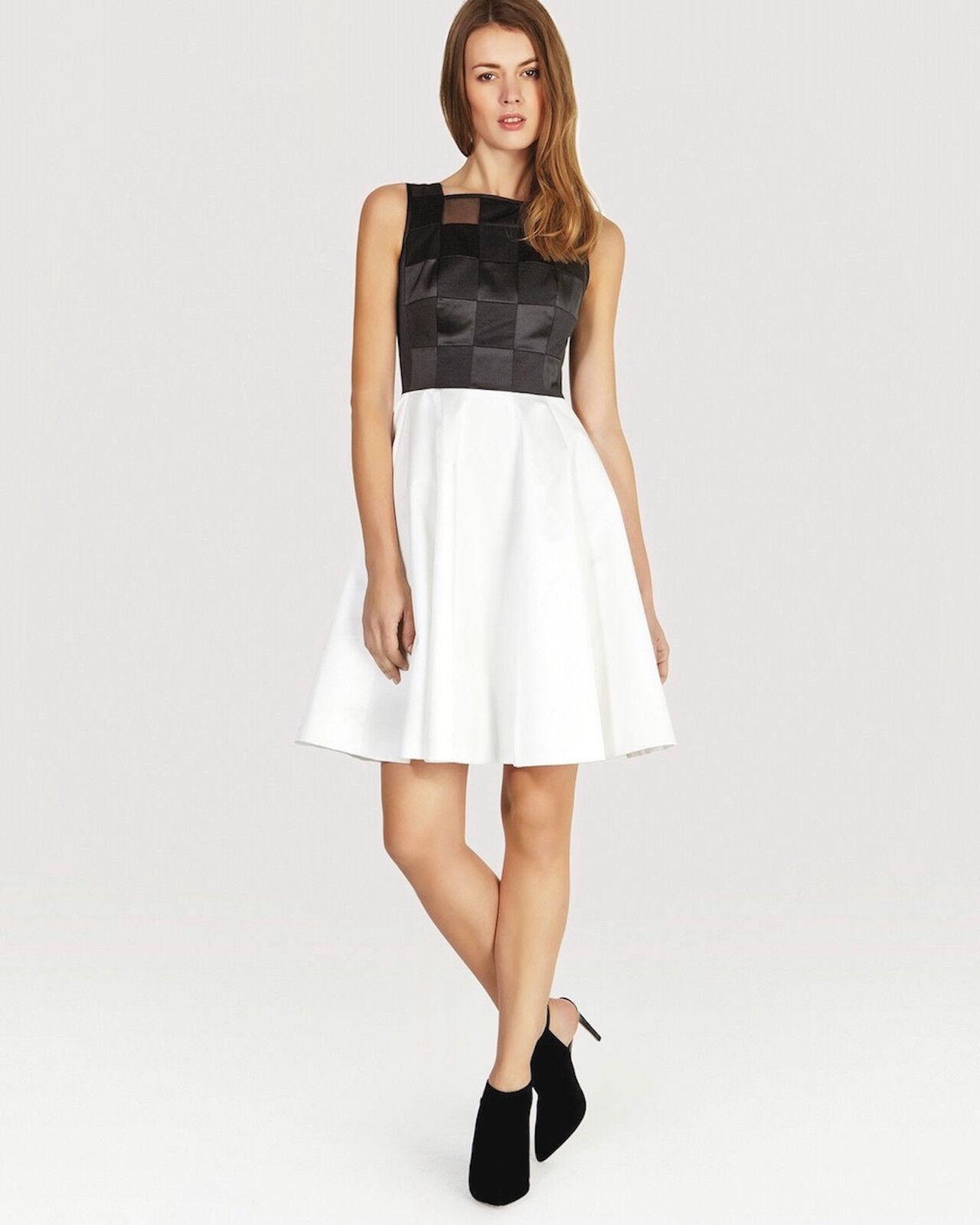 Neu Karen Millen Grafik Muster Kleid Voll Umsäumt Schwarz Weiß Neu mit Etikett
