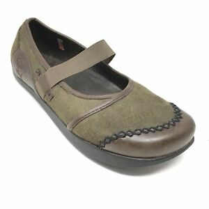 Women-039-s-Earth-Allure-Mary-Jane-Loafers-Shoe-Sz-6B-Brown-Green-Negative-Heel-AE12