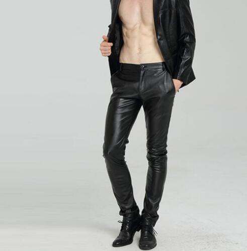 Men PU Leather Pants Black Fashion Solid Plus Size Thicken Korean Colors Warm