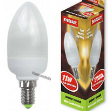 4 WARM LIGHT CANDLE BULBS LOW ENERGY SAVING LAMP 11w SES E14 EVEREADY 2700k