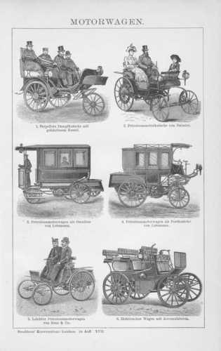 Motorwagen Petroleumkutsche Dampfkutsche HOLZSTICH 1894 Petroleummotorkutsche