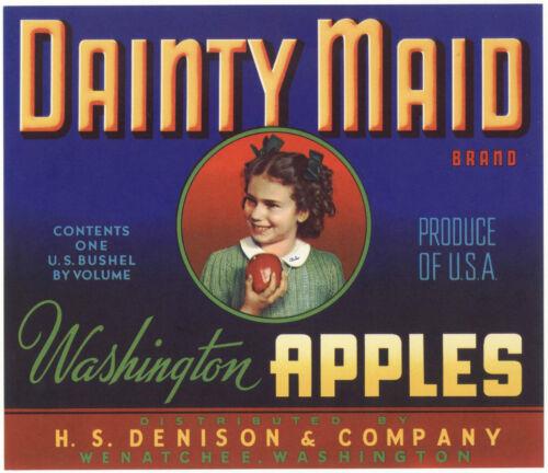 *Original* DAINTY MAID Blue School Girl Washington Apple Crate Label NOT A COPY!