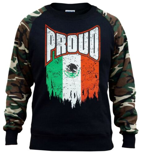 Men/'s Proud Mexico Flag Camo Raglan Sweatshirt Mexican Pride Aztec Seal Mayan