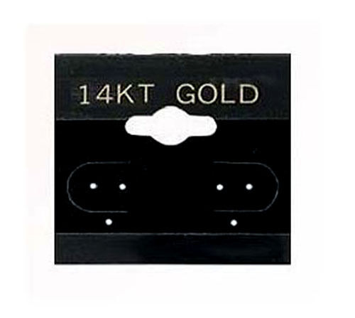 """200 Black 14K Gold  2/"""" Earring Cards Hanging Jewelry Display Card"""