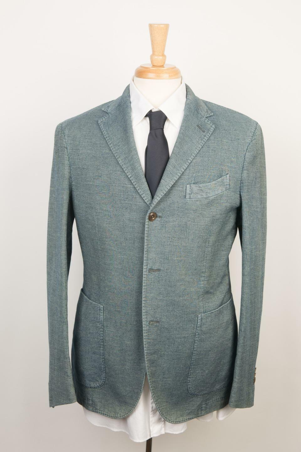 Boglioli  'Coat' Denim Blau 3 Roll 2 Button 100% Cotton Sport Coat 50 IT 40 US