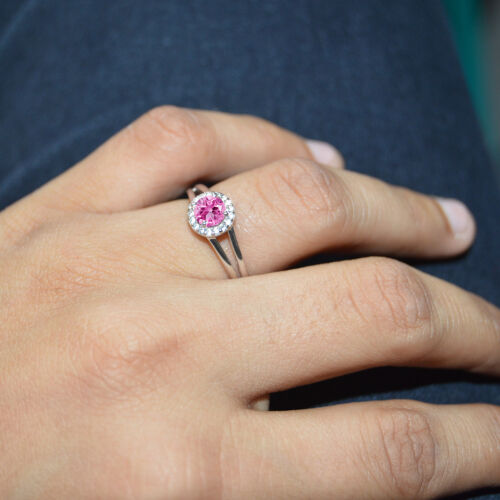 PINK ROUND EXCELLENT 14K WHITE GOLD FN 925 STERLING SILVER CHRISTMAS GIFT RINGS