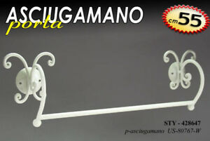 Porta Asciugamani Bagno Shabby : Asciugamano porta salviette bagno 55cm muro ferro bianco shabby chic