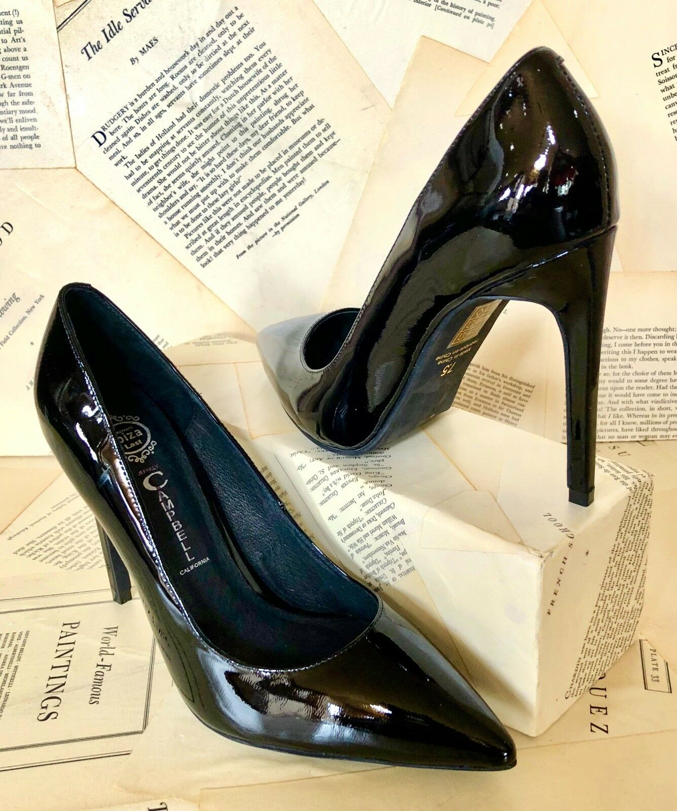 NEW Free People Jeffrey black Campbell black Jeffrey Patent Point Toe Stiletto Pump Shoe 7.5 2140fd