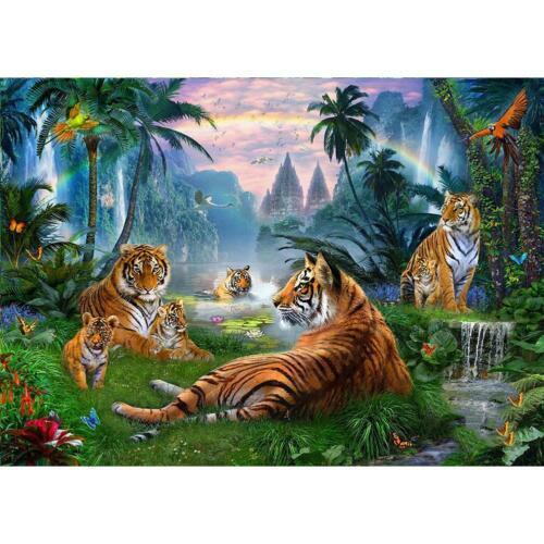 H3E# 5D DIY Full Drill Diamond Painting Tiger Embroidery Mosaic Craft Kits Decor