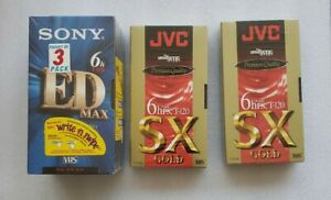 Lot of 5 Blank VHS Tapes Sony and JVC Brand New