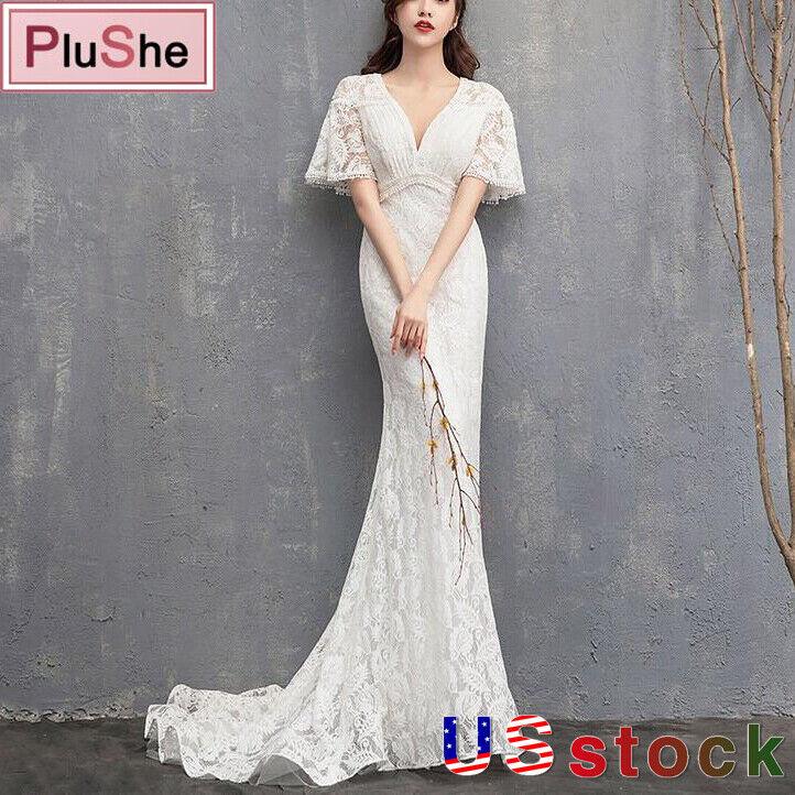 Women Light Wedding Dresses Half Sleeve Lace Trailing Beach V-Neck Bridal Dress