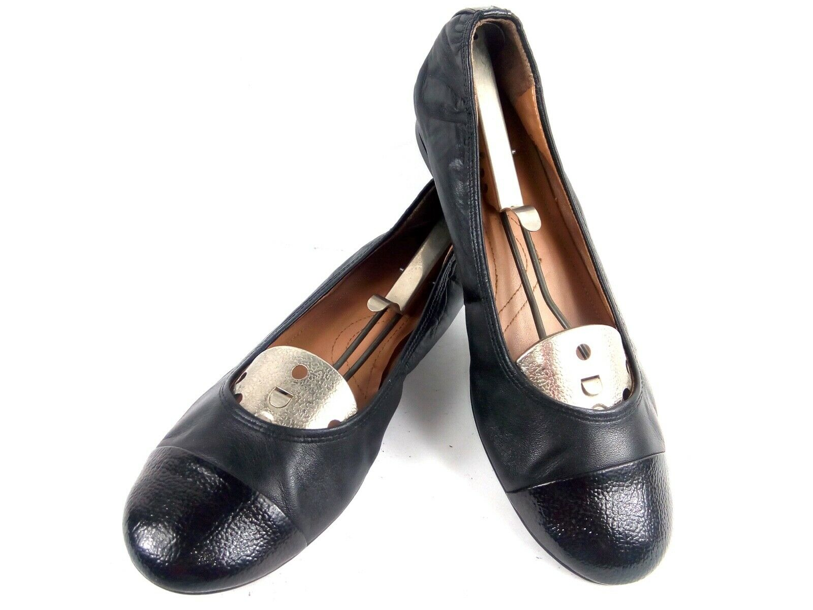 Tahari Carly Women's 9M Black Leather Cap Toe Ballet Slip-On Flats shoes