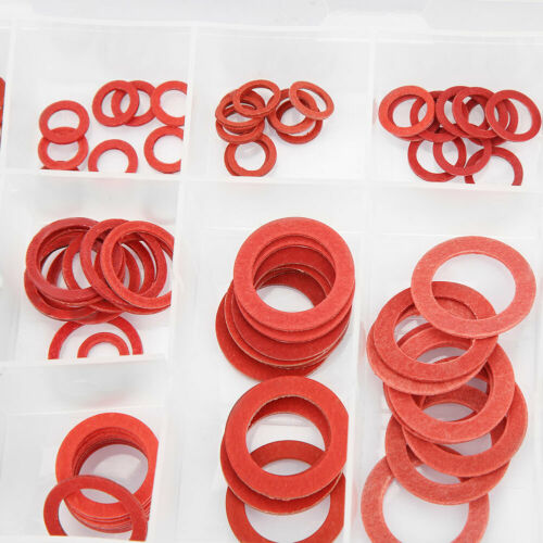 150pcs 14 Size Red Steel Paper Fiber Flat Washers Kit Insulation Washer Assorted
