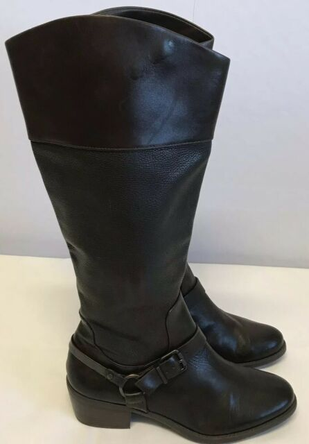 Vince Camuto Brunah Riding Leather Boots Brown Women Sz 9.5 M Buckles Exc