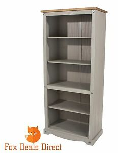 Corona-Grey-Washed-Bookcase-Pine-Tall-Large-Mexican-Display-4-Shelves-80cm-Wide