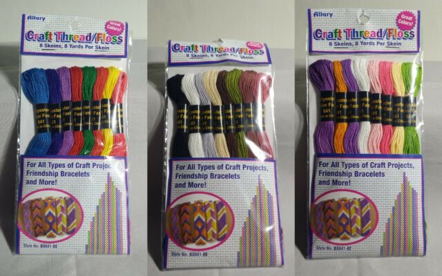 Embroidery Craft Floss 8 Skeins Friendship Bracelets 3 Colors with Instructions
