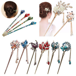Women-Metal-Rhinestone-Handmade-Hair-Stick-Hair-Chopsticks-Hairpin-Pin-Chignon