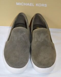 50f99d43e28cb New  120 Michael Kors Keaton Slip On Lasered Olive Green Suede MK ...