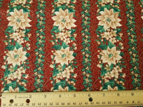 Poinsettia Stripe BTY Quilting Treasures Beige Poinsettia Gold Green Leaves Wine