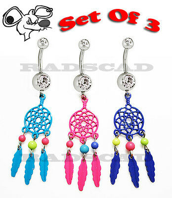 ANODIZED DREAM CATCHER DANGLE NAVEL RING BELLY BAR CLEAR CRYSTAL PIERCING B48
