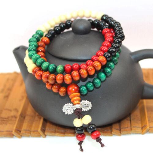 108pcs Natural Chicken Woods Sandalwood Buddhist Prayer Beads Bracelets AZ