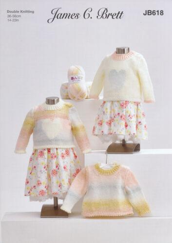 James Brett Double Knit Knitting Pattern Plain or Heart Sweater Baby DK JB618
