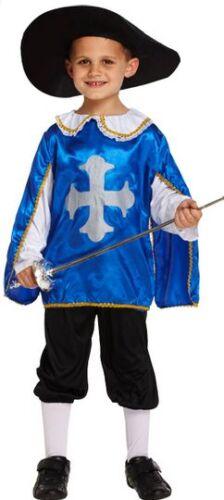 BOYS BLUE MOSCHETTIERE muskateer Libro Giorno Settimana Costume Vestito 4-12 ANNI